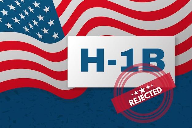 Баннер h-1b visa usa. фон с американским флагом и текстом.