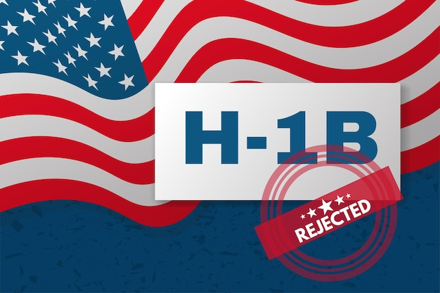 H-1b visa usa banner. background with american flag and text.