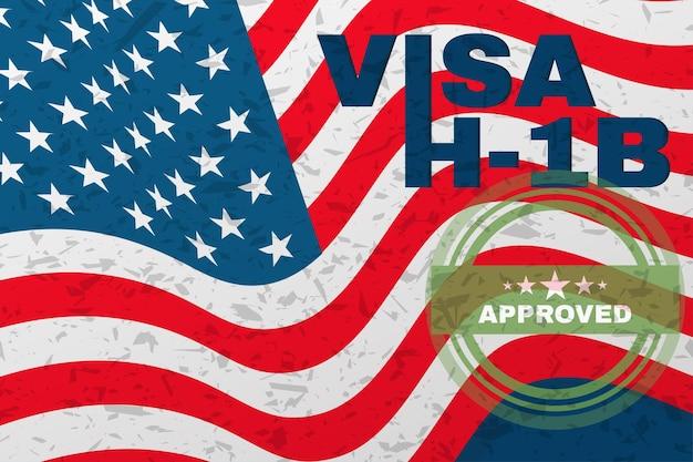 H-1b visa usa banner, неиммиграционная специальная виза для иностранных рабочих по специальности.