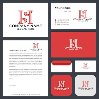 H abstract logo and business card