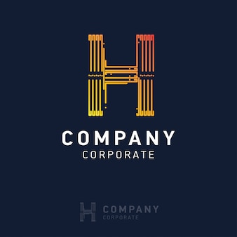 H company logo design with visiting card vector
