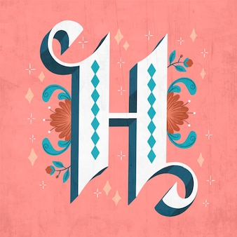 H creative floral letter of alphabet