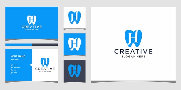H dental logo design with business card template