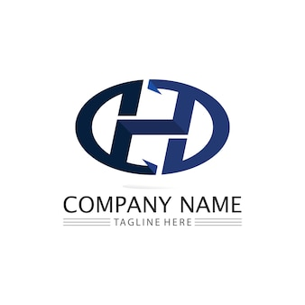 H font and letter design logo alphabet vector sign identity