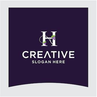 H grape logo design