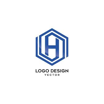 H hexagon logo design