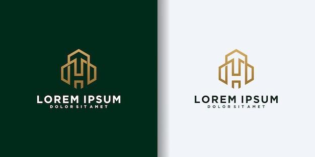 H первоначальная концепция логотипа с вектором шаблона здания. простой домашний дизайн логотипа