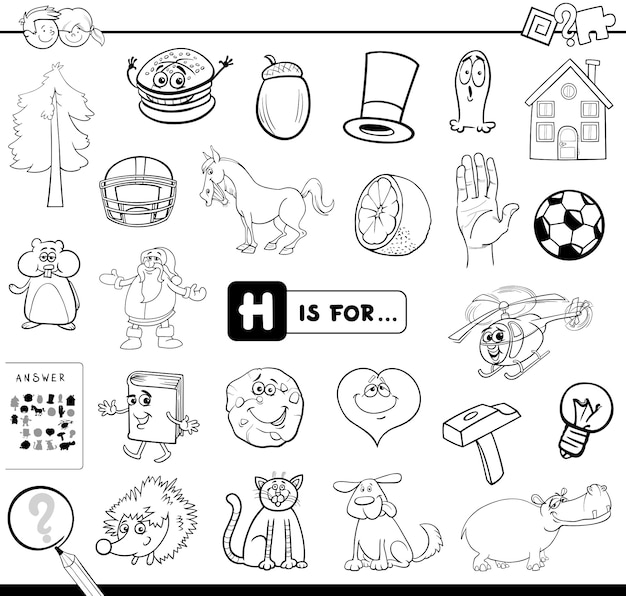 H is for educational game coloring book