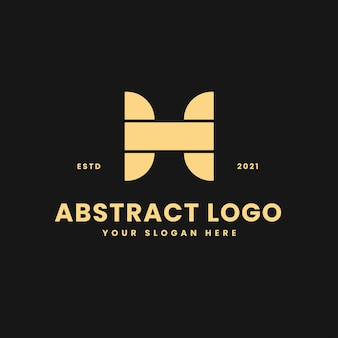 H letter luxurious gold geometric block concept logo vector icon illustration