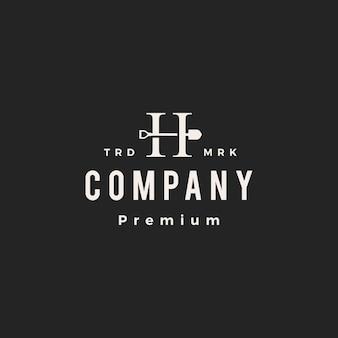 H letter mark shovel spade hipster vintage logo vector icon illustration