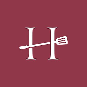 H letter spatula kitchen restaurant chef logo vector icon illustration