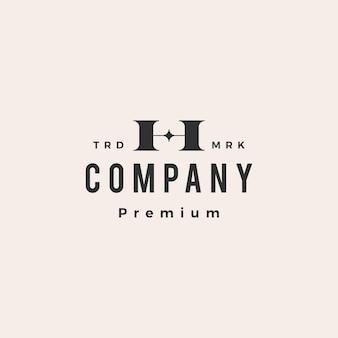 H letter star hipster vintage logo