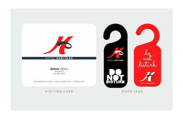 H 편지 방문 카드 및 문 걸이 디자인