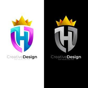 Hロゴと盾のデザインの組み合わせ、王のアイコン