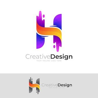 カラフルなデザインのベクトルとhロゴテンプレート