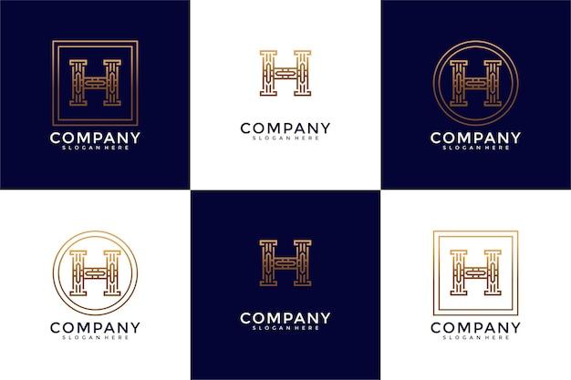 H pillar logo design template