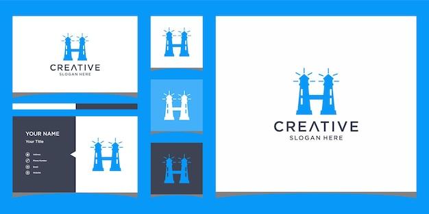 名刺テンプレートとhタワーのロゴデザイン
