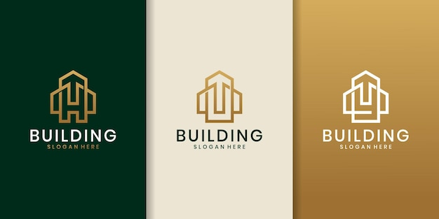 H u y initial logo concept with building template