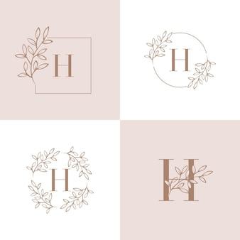 蘭の葉の要素を持つ文字hロゴデザイン