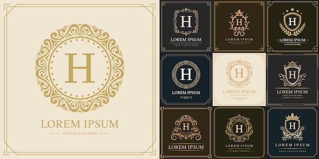 Набор шаблонов логотипа класса люкс, буквица h