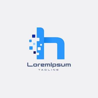 Hピクセル頭文字デザイン最小限のロゴデザインテンプレート