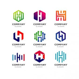 Буква h коллекция дизайн логотипа