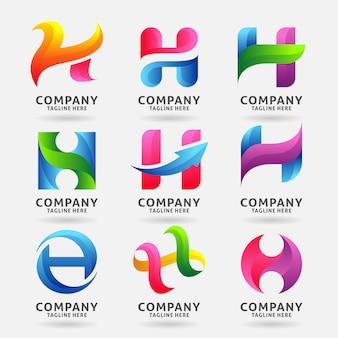文字hモダンなロゴのテンプレートデザインのコレクション