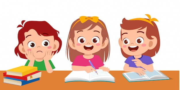 Haapy cute kids boy and girl study