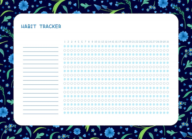 Habit tracker for month flat  template. spring blue wild flowers themed blank, personal organizer with decorative frame.