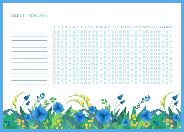 Habit tracker for month flat  template. spring blue and yellow wild flowers themed blank, personal organizer with decorative frame.