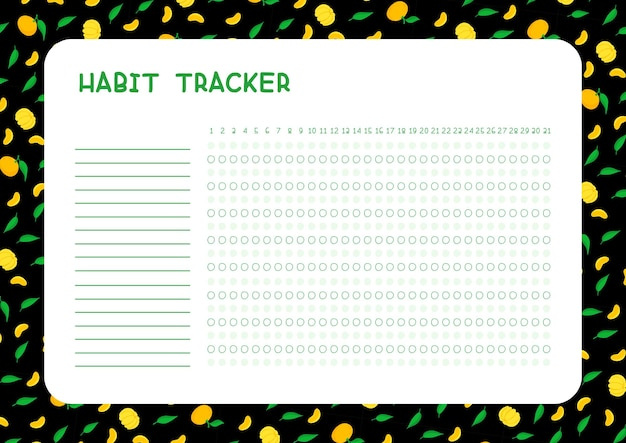 Habit tracker for month template. planner page with mandarins and leaves layout. daily achievements planning. assignments blank timetable design