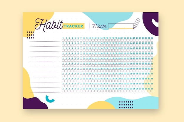 Habit tracker print journal template