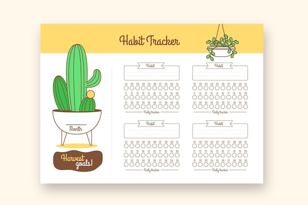 Habit tracker print journal with cactus