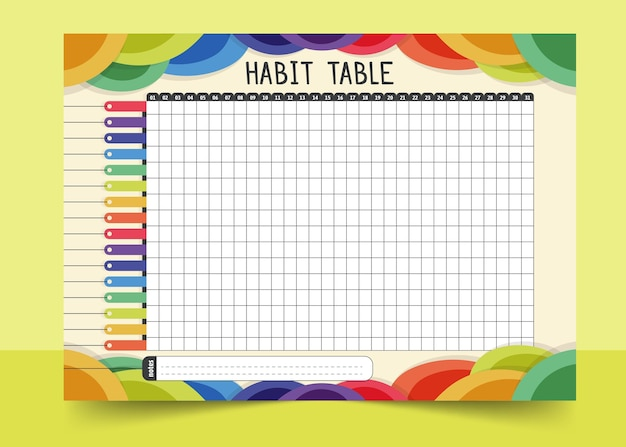 Habit tracker template colourful markers Free Vector