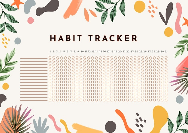 Habit tracker template floral background