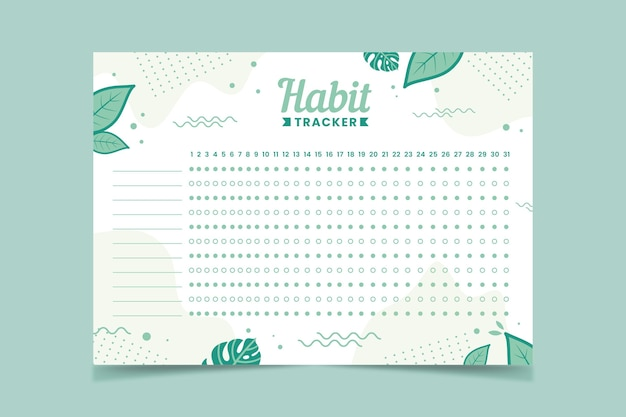 Habit tracker template green leaves