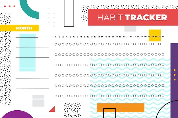 Habit tracker template in memphis style