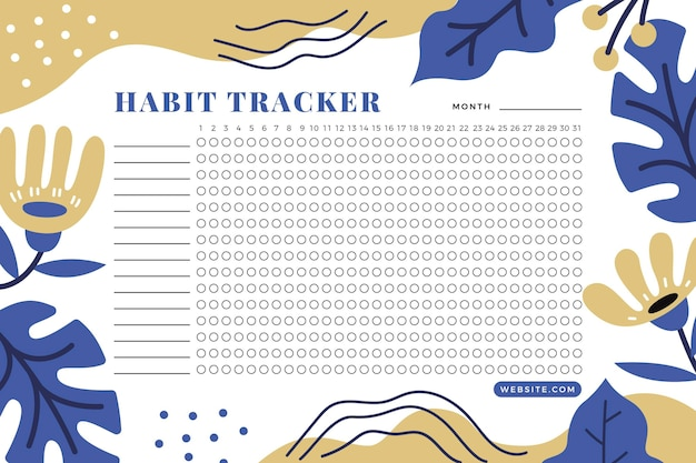 Habit tracker template organizer