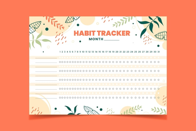 Habit tracker template outline green leaves