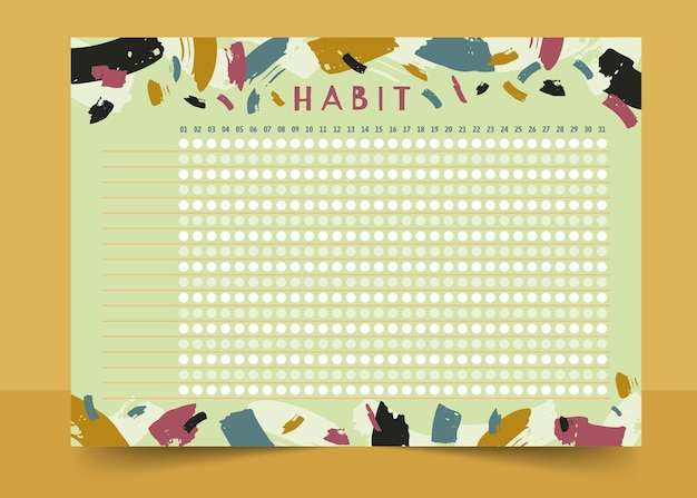 Habit tracker template paint brush strokes
