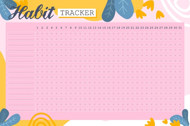 Habit tracker template in pink background
