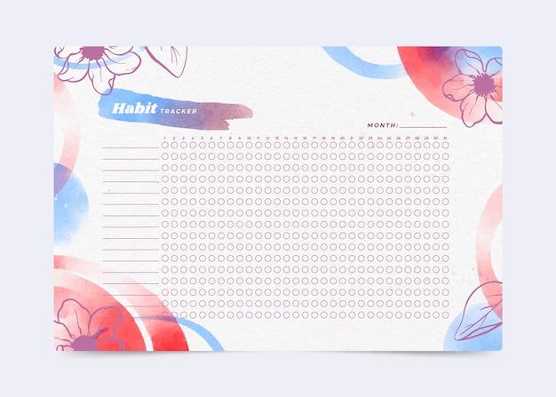 습관 추적기 템플릿 수채화 꽃