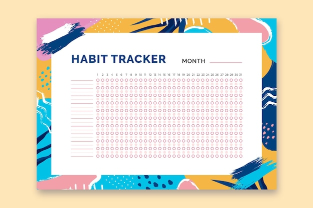 Habit tracker template with colorful shapes