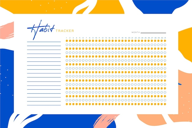 Habit tracker template with colourful background