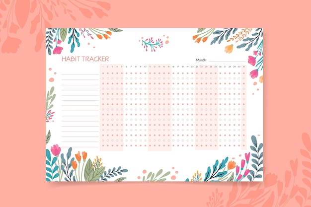 Habit tracker template with different flowers