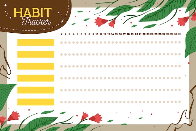 Habit tracker template with floral elements