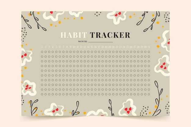 Habit tracker template with flowers and leaves
