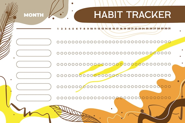 Habit tracker template with leaves and autumn colors