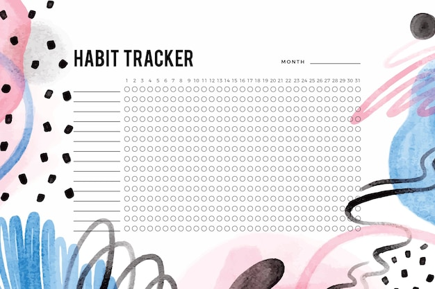 Habit tracker template with painted shapes