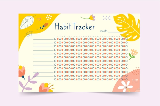 Habit tracker template with plants